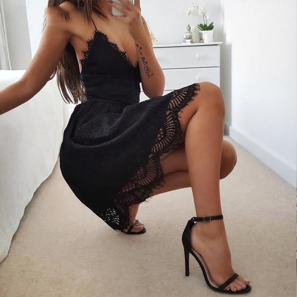 2019 Backless Spaghetti Strap Sexy Pizzo Abito Donna senza maniche scollo a V Abiti estivi in cotone nero elegante abiti da festa