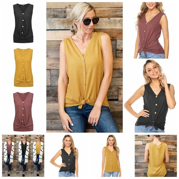 2019 European spring and summer hot solid color sexy V-neck knot button sleeveless Slim thin T-shirt, support mixed batch