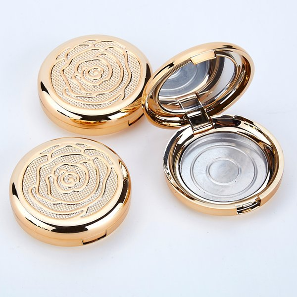 Gold empty co metic eye hadow ca e with aluminum pan mirror makeup powder puff compact container blu h box