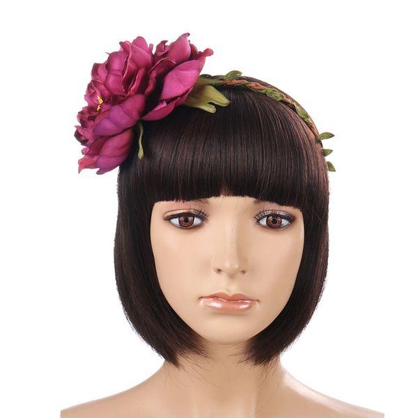 2019 New Rich Peony Flower Tiaras Headband Girls Festival Garland Women Romantic Crowns for Bridal Hair Accessories