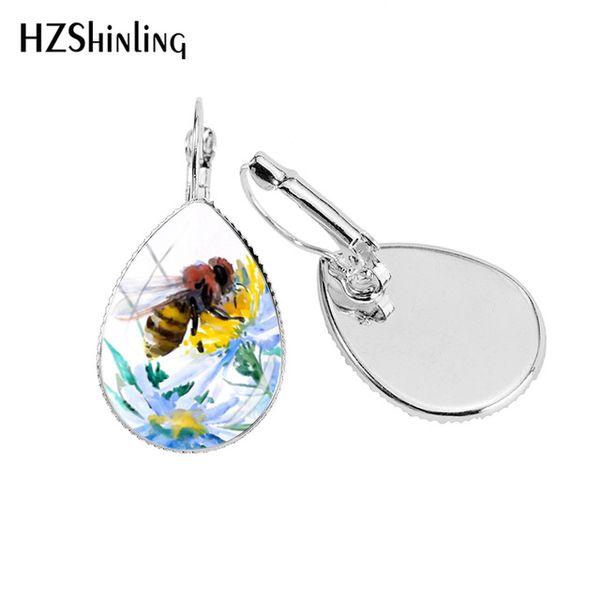 2019 New Bumble Bee Tear Drop Earring Honey Bees Photo Ear Clips Art Glass Dome Handmade Drop Earrings Jewelry