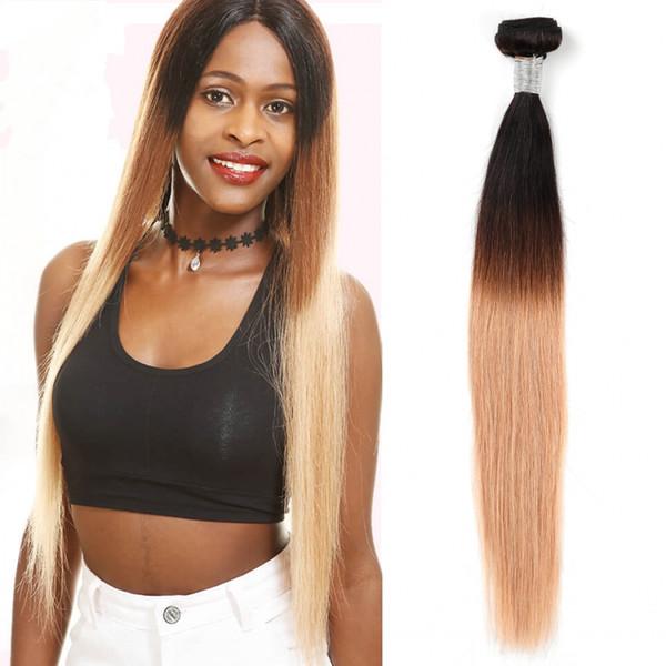 9A Brezilyalı bakire remy İnsan saç örgüleri 1B 4 27 Omber renk Doğal Düz saç demetleri