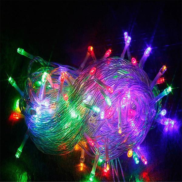 indirim 10M Su geçirmez 110V / 220V Noel Festivali Partisi twinkle Lights 100 LED RGB beyaz tatil Dize ışıkları dize açtı