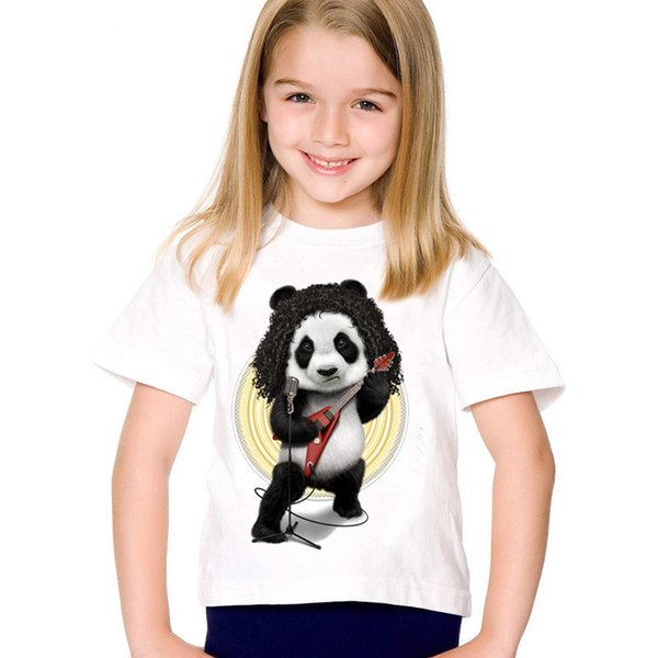 Мода печати Rocker Panda дети футболки дети смешно лето с коротким рукавом футболки мальчиков/девочек повседневная топы Детская одежда,HKP2033