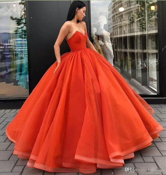 Simple Orange Ball Gown quinceanera Dresses Sweetheart Formal Vestido De Festa Floor Length Long Formal Evening Dress Pageant Party Gowns