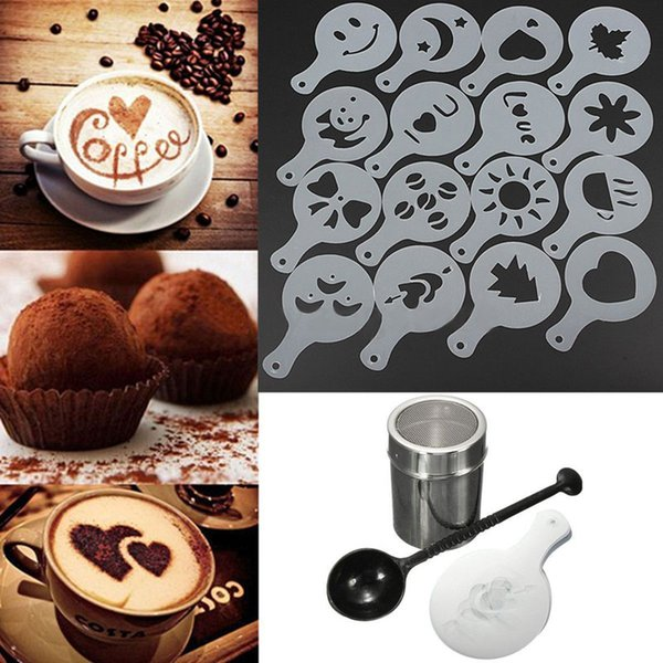 ware Coffee Stencils 16pcs Cappuccino Coffee Stencil Duster Stainless Steel Chocolate Shaker Duster Coffee Measuring Spoon Kitchen Tools