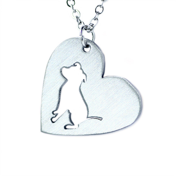Bulldog with Heart Cutout Charm Pendant Necklace hollow heart charm necklace gift for her