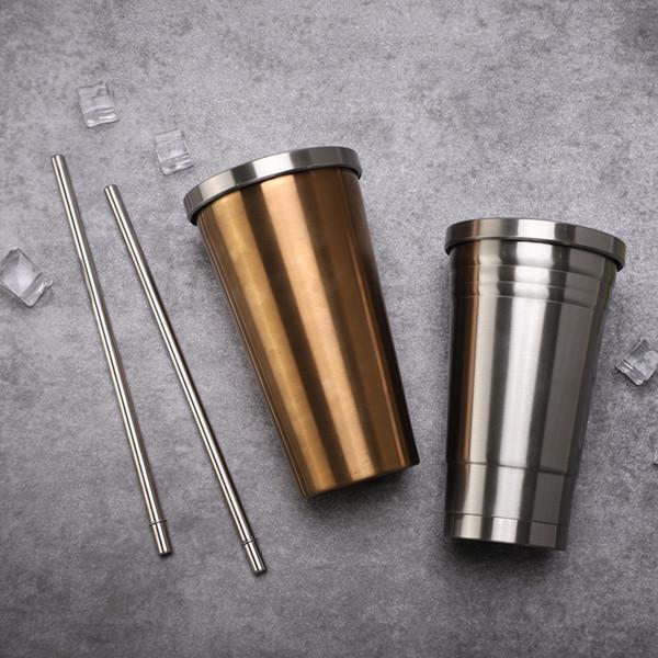 Corée du Sud starbucks tasses 450 ml en acier inoxydable vide double tasse de café 304 hommes et femmes en plein air voiture de sport tasse d'eau paille droite