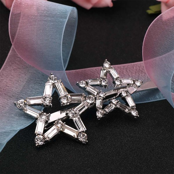 Women Headwear Flash Rhinestone Double Snowflake Hair Clips Large Star Hairpins Hair Accessories Wedding Bridal Jewelry