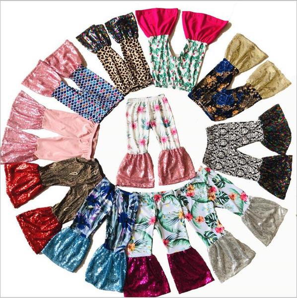 Calças das crianças Sereia Sino Inferior Calças Floral Lantejoulas Calças Perna Larga Boutique Casual Calças Justas Moda Calças de Dança Princesa Leggings B5901