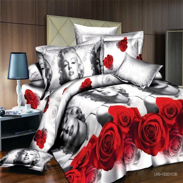 4 Pieces 3D Marilyn Monroe Bedding Red Rose Marilyn Monroe Bedding Sets