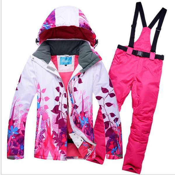 Women Skiing Jackets And Pants Snow Snowboard Clothes Warm Waterproof Windproof Winter Dress Ski Suits Set New High Quality