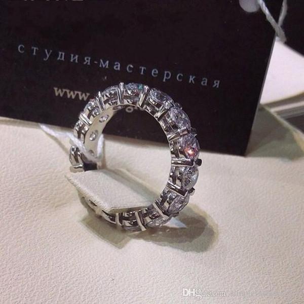 Elegante Anel de Promessa De Casamento 6mm de Diamante 925 Sterling Silver Engagement Band Anéis para as mulheres Presente Da Jóia