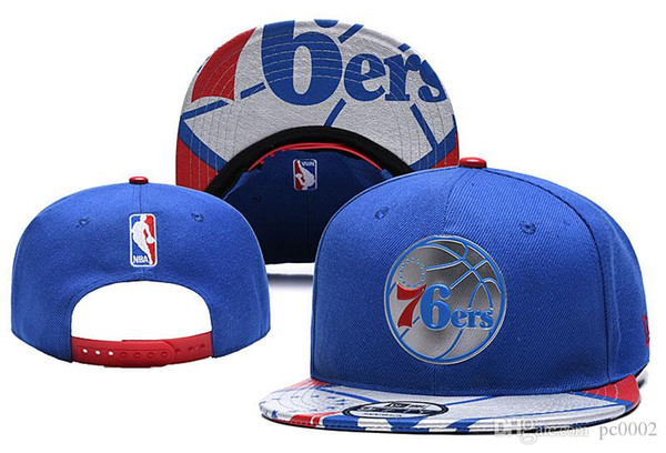Mens P 76ers Wihte Royal/Red Black Logo Two-Tone Snapback Ball Caps Adjustable Hat 25