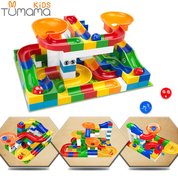 52pcs Diy Construction Marble Race Run Maze Balls Track Kids Children Gaming Building Blocks Toys Compatible With