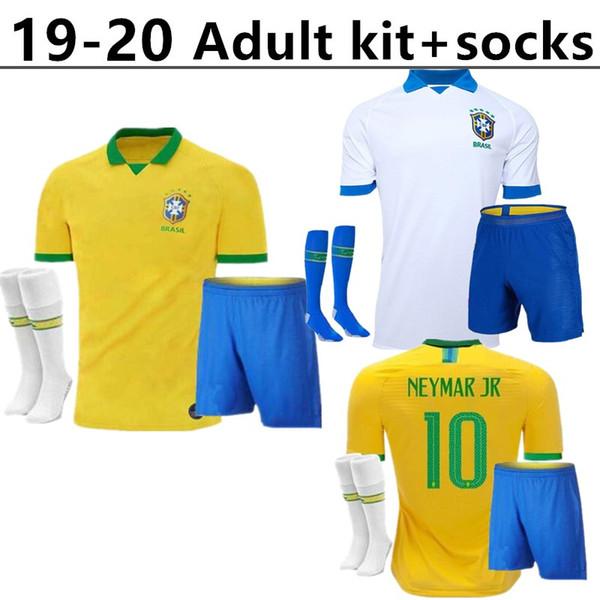2019 Copa América Brasil adulto kit + calcetines Soccer Jersey 19 20 PAULINHO G.JESUS P.COUTINHO D.COSTA WILLIAN hombre Camisetas Fútbol camiseta
