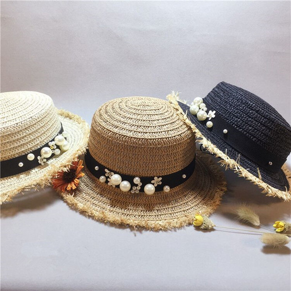 lovely Flat top straw hat Summer Spring women's trip caps leisure pearl beach sun hats black breathable fashion flower girl hat C18122501