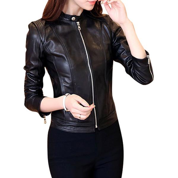 Veste en cuir synthétique pour femmes, col montant, manches longues, coupe ajustée