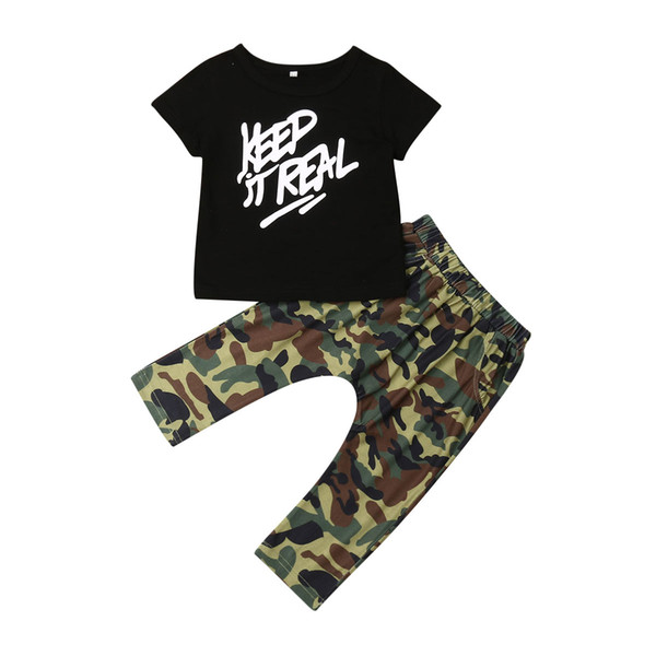 2019 Brand Toddler Kids Baby Boy Clothes Casual T Shirt Letter Tops+Camouflage Long Pants 2Pcs Outfit Set Cool Boy Clothing 2Pcs
