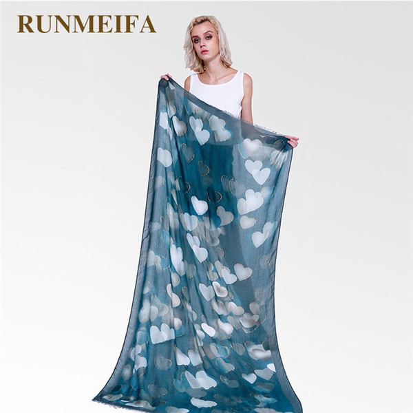 RUNMEIFA New Stylish Women Heart Pattern Scarf Soft Beach Shawls Autumn Summer Spring Foulard Femme Lady Grace Shawl 90*180cm