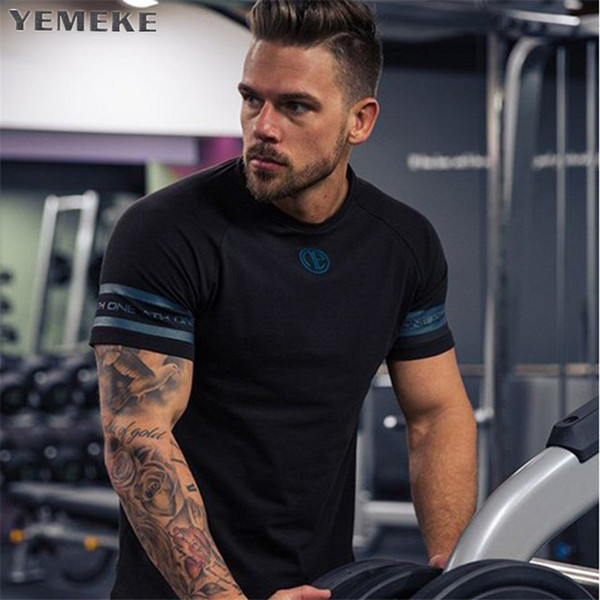 Hot Sale Cotton T Shirt Men Breathable T-Shirt Homme Gyms T shirt Men Fitness Summer Printing Gyms Tight Top Black Whit