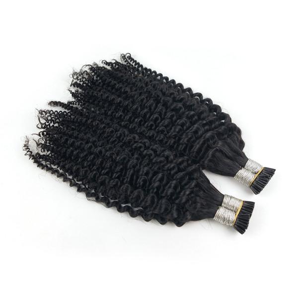 Afro Kinky Kıvırcık Saç Tüm kafa 100G Ben Ucu İnsan Saç Uzantıları Ön Gümrük keratin çubuk ucu saç uzantıları 100 S