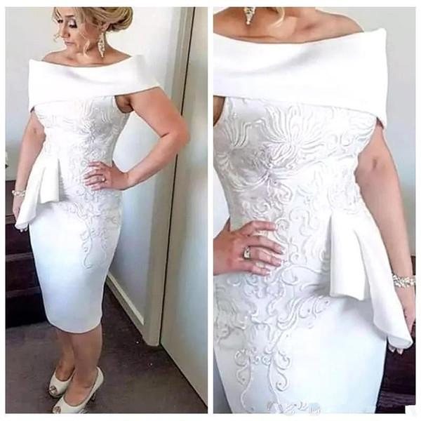 White Elegant Sheath Mother of Bride Dresses Off Shoulder Knee Length Mother's Dress Elegant Evening Formal Dresses bijoux Abendkleider
