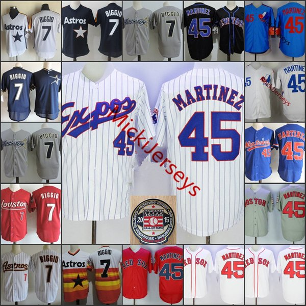 Mens Nº 45 Pedro Martinez Marinha Montreal Expos Jersey costurado Branco Vermelho Cinza # 7 Craig Biggio remendo 2015 HOF Jersey S-3XL