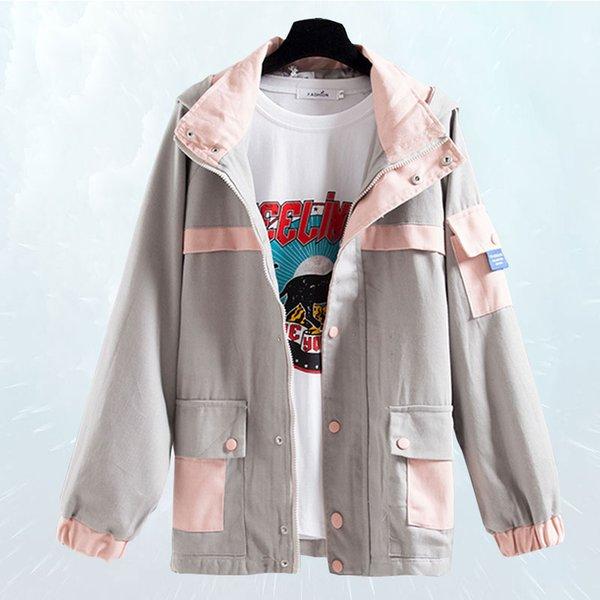 2019 Новая Мода Весна Осень Пальто Женщин Свободные Большой размер BF Ветер Куртка С Капюшоном Подбора Цвета Оснастки Ветер Базовая Куртка SL192