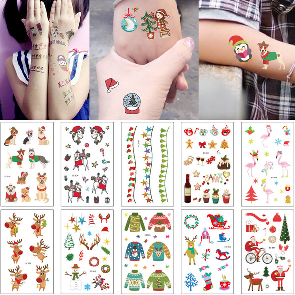Temporary Merry Christmas Tattoo Tiny Cute Cartoon Elk Sweater Tree Snowman Decal for Adult Boy Girl Kids Jewelry Tattoo Stickers 2019 Gifts