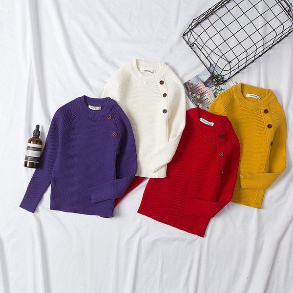 Spring Autumn Baby Sweaters Winter Kids Knit Infant Sweaters Children Boys Long Sleeve 3 Buttons Girls Basic Sweaters