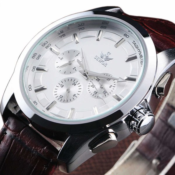 2018 Hot Sale Sewor Fashion Date Calendar Multi Function Leather Strap Men Gift Mechanical Automatic Self-wind Wrist Watch 8275 Y19052103
