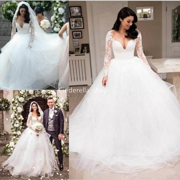 Romantic Long Sleeves Lace Tulle Wedding Dresses 2019 V Neck See Through Ball Gowns Garden Bride Dresses Court Train Vestidos Novia Wedding Dress