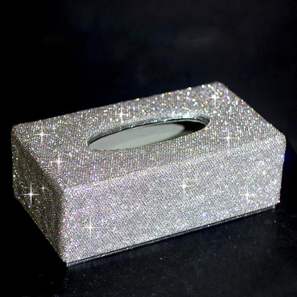 Fashion Lady Bling Diamond White Bling Car Paper Towel Tissue Servilleta Caja Cubierta de la caja