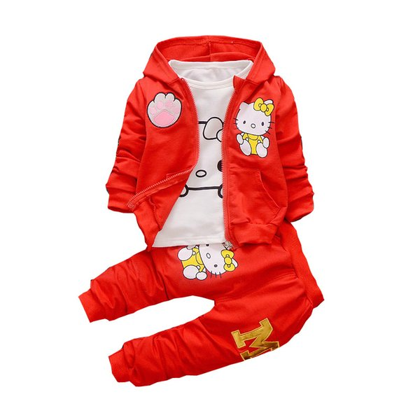 2019 Spring Autumn Baby Boys Girls Cartoon Clothes Fashion Children Hooded Jacket T-shirt Pants 3 Pieces Sets Infant Tracksuits