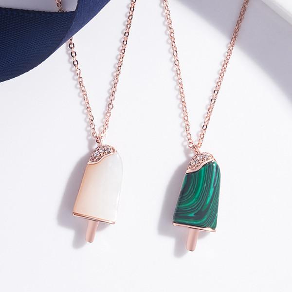 Rose Gold Farbe Titan Stahl Crystal Green Stone Eis am Stiel natürliche Mutter Muschel Perle Eis Anhänger Halskette