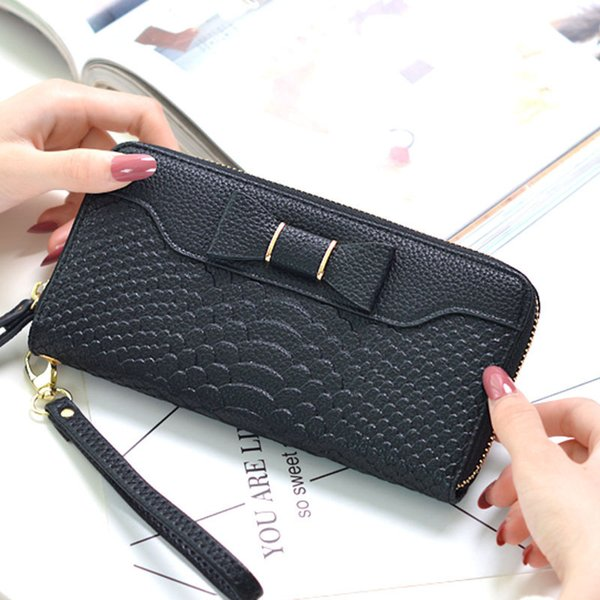 Female Vintage Pu Alligator Leather Wallet Bow Zipper Long Purse Solid Color Big Capacity Coin Card Holders Clutch Bag Carteras