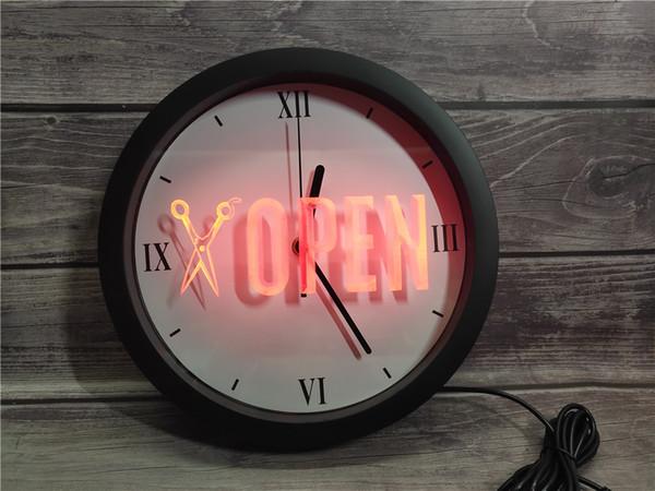 0K753 APERTO Scissor del negozio di barbiere APP RGB Segnali 5050 luce al neon LED Orologio da parete