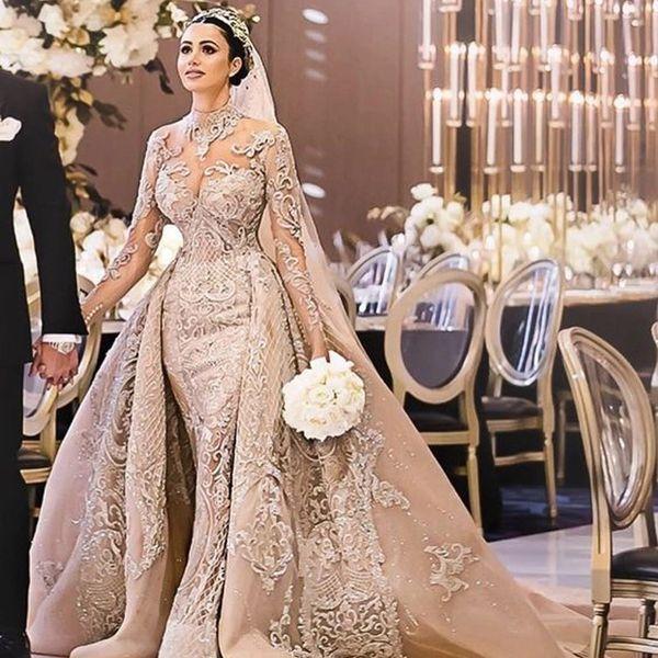 luxury champagne mermaid wedding dresses overskirt long sleeve dubai bridal gowns 2020 plus size bling lace applique country robes de mariée