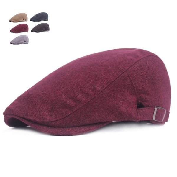 New Autumn Winter Wool Berets Caps For Men Fashion Peaked Caps Warm Men Beret Hats Casquette Cap Flat Hat