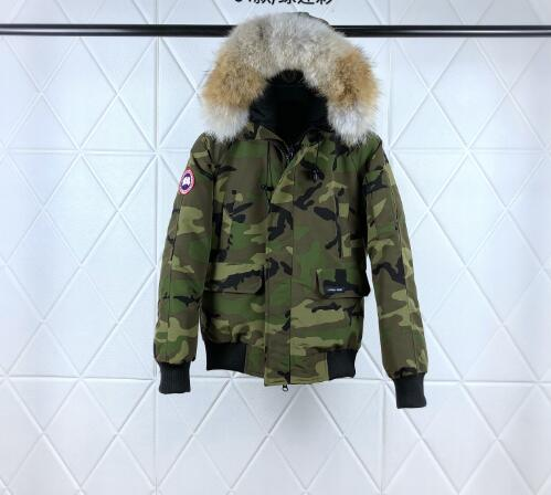 2019 autumn and winter new Canadian thick warm short paragraph goose down jacket camouflage green jacket free to send EMS