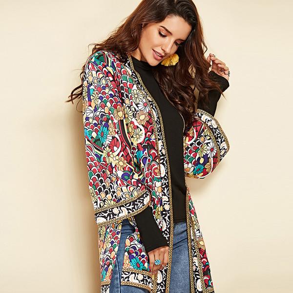 Herbst und Winter Fashion New Damen Bluse Side Slit langen Absatz Sieben-Punkt-Hülse Printed Shirt Jacket