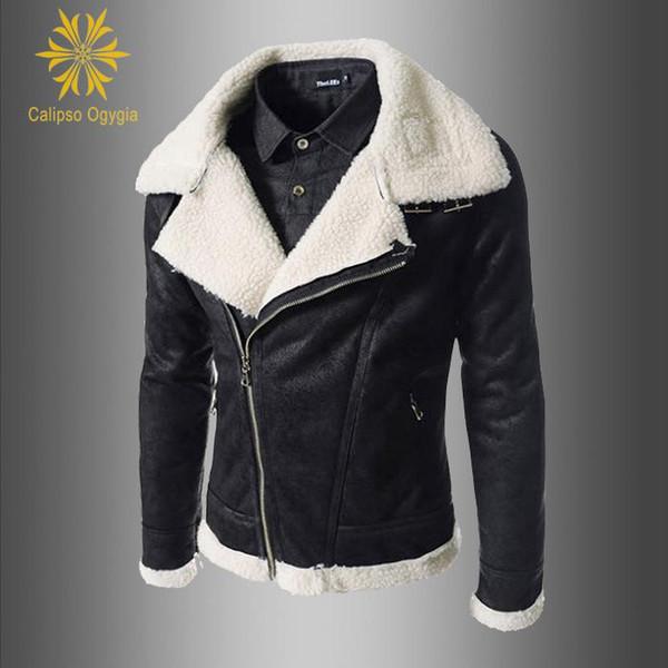 Mode Neue Moto Jacken Herren Pelzkragen Mantel Winter Herren Warme Pelz Gefüttert Innen Kurze Leder Outwear Fleece Jacke Mantel Parka