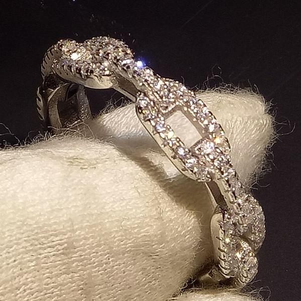 Best4UU 2019 gioielli di lusso più venduti in puro argento sterling 925 puro 925% pavé di zaffiri bianchi CZ anello da donna con catena da sposa