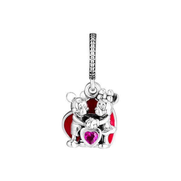 2019 Direct Selling Real 925 Sterling Silver Jewelry Mouse With Love Charm Beads Fits European Bracelets Necklace for Women Making
