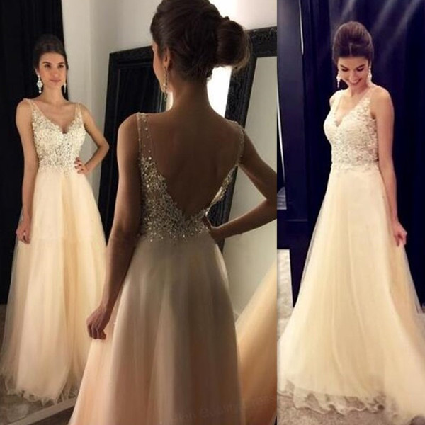 2019 Champagne Long Prom Dresses Backless Illusion A-line Tulle V-neck Straps Open Back Corset Evening Party Gowns For Girls Custom Made