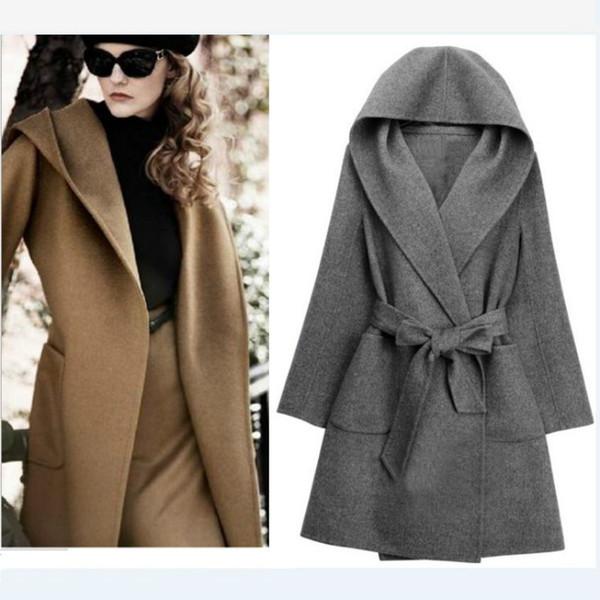 XUXI 2019 New Women's Imitation Woolen Coat Winter Long Sleeve Loose Belt Both Used Warm Wool Jacket Hood Outerwear FZ271