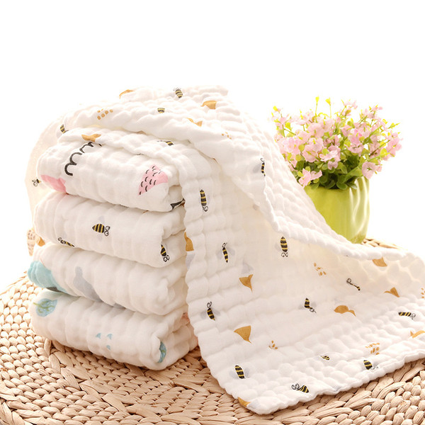 top popular Baby Muslin Towel Newborn Square Bibs Kids 6 Layers Washing Gauze Handkerchief Cotton Towel Wipe Cloth Wrap Toddler Bibs 2021