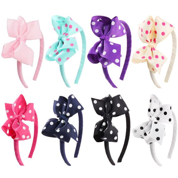 Fashion Kid Girls Candy Colors Luxury Designer Headsticks Girls Elegant Cute Dot Hair Bows Children Headwear Hair Accessories for Women