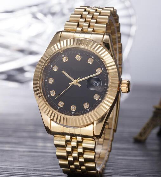 2019 Top Selling Luxury Brand Men Watch Gold Stainless Steel Black Dial Wristwatch Male Quartz Watches Double Calendar Wrist watch man